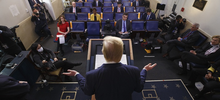 President Donald Trump speaks during a coronavirus task force briefing at the White House, Friday, April 10, 2020, in Washington.