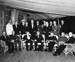 President Franklin D. Roosevelt entertained at dinner for British Prime Minister Winston Churchill aboard the U.S. cruiser Augusta on Aug. 9, 1941, somewhere in the Atlantic.