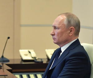 Russian President Vladimir Putin attend a meeting via video conference with heads of local governments at the Novo-Ogaryovo residence outside Moscow, Russia, Wednesday, April 8, 2020.