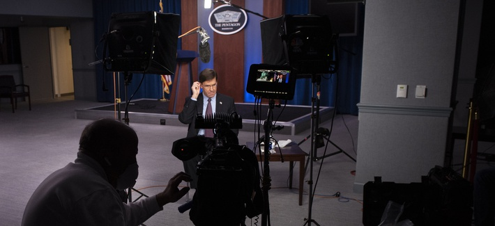 Secretary of Defense Mark Esper is interviewed by NBC's TODAY Show in the Pentagon Briefing Room on April 16, 2020.
