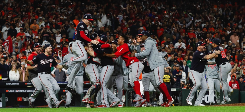 The Washington Nationals celebrate after Game 7 of the baseball World Series against the Houston Astros Wednesday, Oct. 30, 2019, in Houston. The Nationals won 6-2 to win the series.