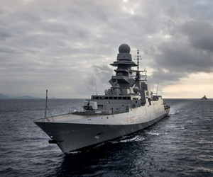 An Italian Navy FREMM frigate.