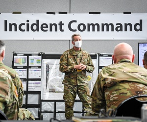 U.S. Air Force Gen. Terrence J. O'Shaughnessy, commander, U.S. Northern Command (NORTHCOM), speaks to military personnel during his visit to the Javits New York Medical Station.