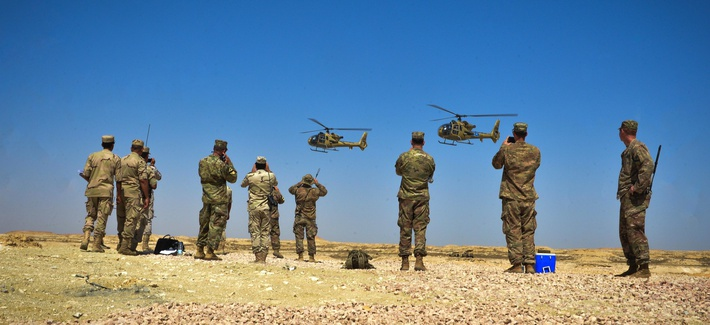 Two Egyptian Aérospatiale Gazelle helicopters participate in a combined arms live fire exercise during Bright Star 2017, Sept. 20, 2017, at Mohamed Naguib Military Base, Egypt.