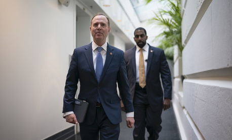 Lead House impeachment manager, Intelligence Committee Chairman Adam Schiff, D-Calif., arrives to meet with fellow Democrats on the morning after the State of the Union with President Donald Trump, at the Capitol in Washington, Wednesday, Feb. 5, 2020