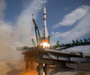 A Soyuz rocket carrying a new crew to the International Space Station blasts off in Kazakhstan on April 9, 2020.
