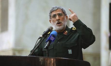 In this May 24, 2017 file photo, Gen. Esmail Ghaani speaks in a meeting at the shrine of the late revolutionary founder Ayatollah Khomeini just outside Tehran, Iran.