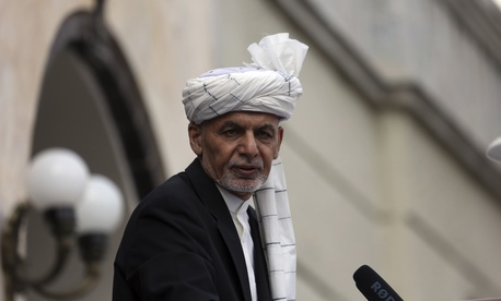 Afghan President Ashraf Ghani speaks after he was sworn in at an inauguration ceremony at the presidential palace in Kabul, Afghanistan, Monday, March 9, 2020.