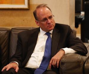Then-Assistant Treasury Secretary for Terrorist Financing, Marshall Billingslea, left, listens to Lebanese Prime Minister Saad Hariri,during their meeting in Beirut, Lebanon, Monday, Sept. 23, 2019.