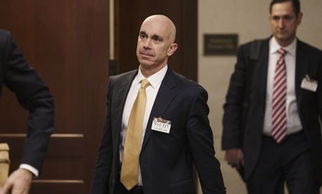 State Department Inspector General Steve Linick leaves a meeting in a secure area at the Capitol where he met with Senate staff about the State Department and Ukraine, in Washington, Wednesday, Oct. 2, 2019.