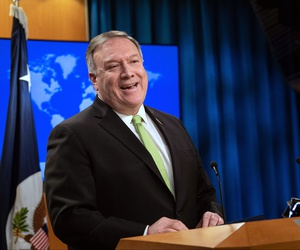 Secretary of State Mike Pompeo speaks during a press briefing at the State Department on Wednesday, May 20, 2020, in Washington.