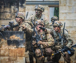 U.S. soldiers participate in a training exercise at Kahuku Training Area on Oahu, Hawaii, March 13, 2020.