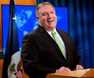 Secretary of State Mike Pompeo speaks during a press briefing at the State Department on May 20.