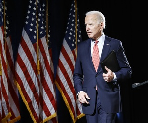 Democratic presidential candidate former Vice President Joe Biden departs after speaking about the coronavirus Thursday, March 12, 2020, in Wilmington, Del.