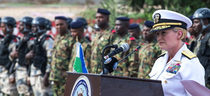 U.S. Navy Rear Adm. Heidi Berg, director, intelligence and knowledge development directorate, U.S. Africa Command, gives remarks during the opening ceremony for exercise Cutlass Express 2019 in Djibouti on Jan. 28, 2019..