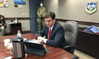 Defense Secretary Mark Esper speaks by video teleconference from U.S. Northern Command in Colorado Springs, Colo., on Thursday, May 7, 2020, with military medical specialists at civilian hospitals in New York and Connecticut.