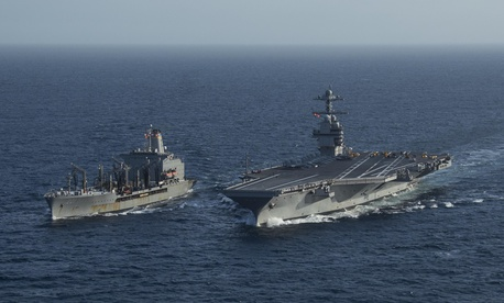 USS Gerald R. Ford (CVN 78) pulls alongside USNS Patuxent (T-AO 201) during a replenishment-at-sea May 15, 2020.