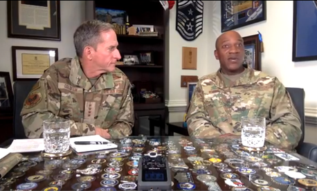 Air Force Chief of Staff Gen. David Goldfein, left, and Chief Master Sgt. Kaleth Wright address airmen on the topic of racism in a video posted on June 2, 2020.