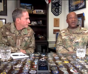 Air Force Chief of Staff Gen. David Goldfein, left, and Chief Master Sgt. Kaleth Wright address airmen on the topic of racism in a video posted on June 2.