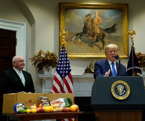 Agriculture Secretary Sonny Perdue and President Donald Trump at a May 19 event to promote a new food aid program