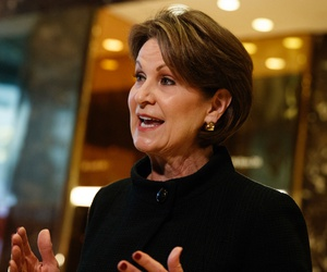 Lockheed Martin CEO Marillyn Hewson talks to reporters in January 2017.