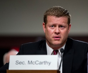 Ryan McCarthy, the nominee to the Secretary of the Army, speaks during his Senate Armed Services Committee confirmation hearing, Thursday, Sept. 12, 2019, in Washington.