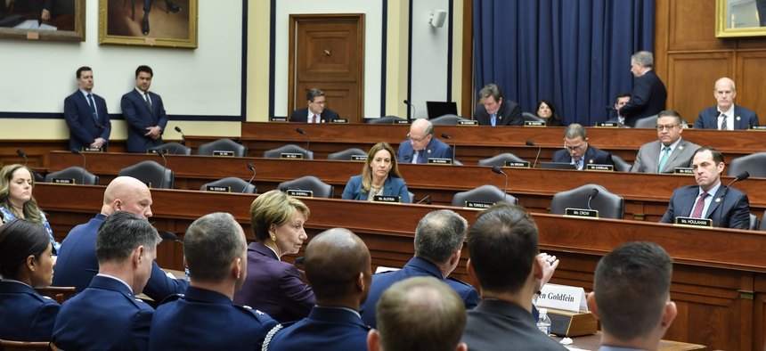 Air Force Chief of Staff Gen. David L. Goldfein, Air Force Secretary Barbara M. Barrett and Chief of Space Operations Gen. John W. Raymond testify before the House Armed Services Committee in Washington, D.C., March 4, 2020.