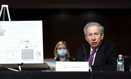 Michael Griffin, Under Secretary of Defense for Research and Engineering, speaks to the Senate Armed Services Committee hearing on May 6, 2020.