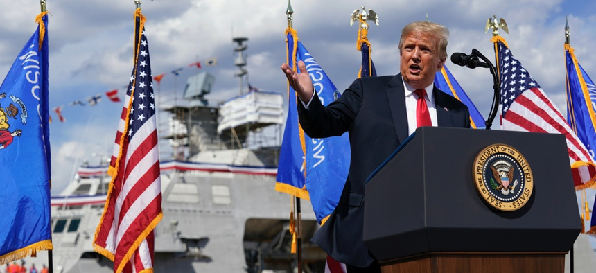 President Donald Trump speaks during a visit to Fincantieri Marinette Marine, Thursday, June 25, 2020, in Marinette, Wis.
