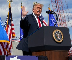 President Trump speaks during a visit to Fincantieri Marinette Marine on June 25.