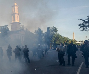 Police move demonstrators away from St. John's Church across Lafayette Park from the White House, as they gather on June 1 to protest the death of George Floyd.