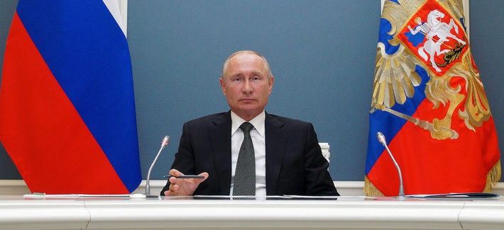 Russian President Vladimir Putin attends a video call with Defense Minister Sergei Shoigu in Moscow, Russia, Tuesday, June 30, 2020