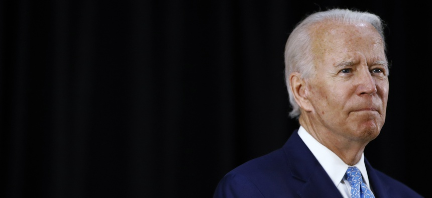 Democratic presidential candidate, former Vice President Joe Biden speaks at Alexis Dupont High School in Wilmington, Del., Tuesday, June 30, 2020.