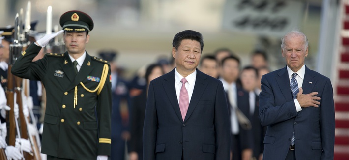 Chinese President Xi Jinping, and Vice President Joe Biden stand for the National Anthem during an arrival ceremony in Andrews Air Force Base, Md., on, Sept. 24, 2015.