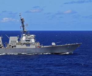 USS Preble (DDG 88) and USS Halsey (DDG 97) are underway together in the Pacific Ocean, June 5, 2020.