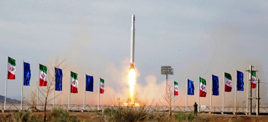 In this photo released Wednesday, April 22, 2020, by Sepahnews, an Iranian rocket carrying a satellite is launched from an undisclosed site believed to be in Iran's Semnan province.