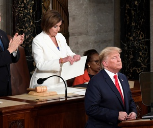 House Speaker Nancy Pelosi, D-Calif., tears her copy of President Donald Trump's s State of the Union address after he delivered it to a joint session of Congress on Capitol Hill in Washington, on Tuesday, Feb. 4, 2020. Vice President Mike Pence applauds