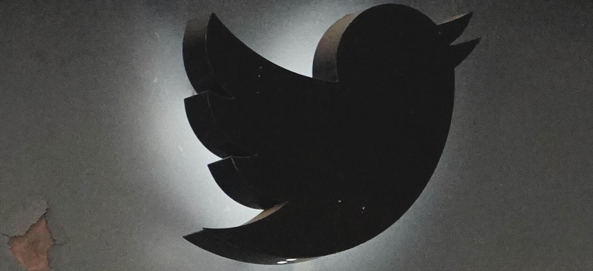 A view of Twitter logo as seen in from its Chelsea office during the coronavirus pandemic on May 13, 2020 in New York City.