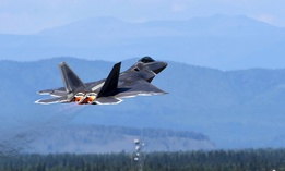 A U.S. Air Force F-22 Raptor takes off for training during exercise Arctic ACE at Joint Base Elmendorf-Richardson, Alaska, July 17, 2017.