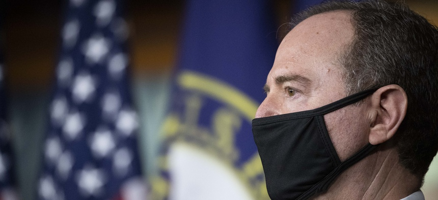 Rep. Adam Schiff, D-Calif., Chairman of the House Intelligence Committee, speaks during a news conference on Capitol Hill, after a meeting at the White House, Tuesday, June 30, 2020 in Washington.
