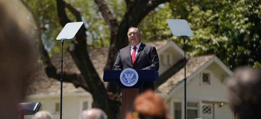 Secretary of State Mike Pompeo speaks at the Richard Nixon Presidential Library, Thursday, July 23, 2020, in Yorba Linda, Calif.