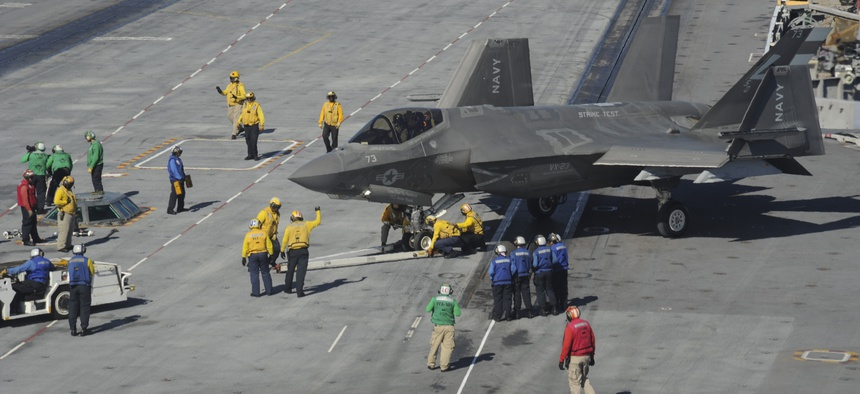 An F-35C Lightning II carrier variant, assigned to the Salty Dogs of Air Test and Evaluation Squadron (VX) 23, taxis on the flight deck of the aircraft carrier USS George Washington (CVN 73) in 2016.