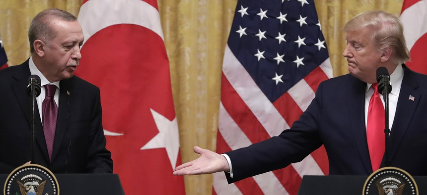 President Donald Trump speaks during a news conference with Turkish President Recep Tayyip Erdogan in the East Room of the White House, Wednesday, Nov. 13, 2019, in Washington.