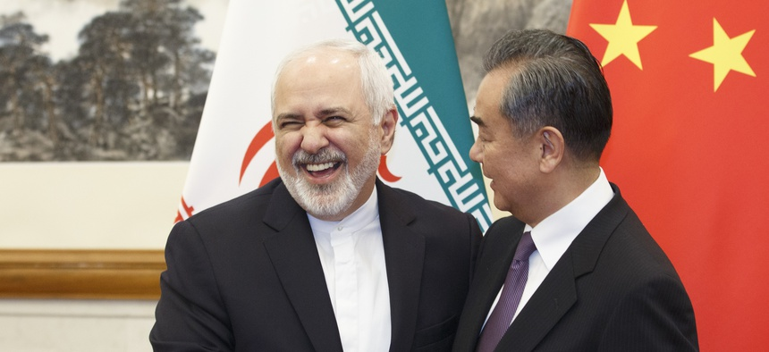 Chinese Foreign Minister Wang Yi meets Iranian Foreign Minister Mohammad Javad Zarif at the Diaoyutai State Guesthouse in Beijing, Friday, May 17, 2019.