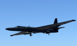 A U-2 Dragon Lady piloted by Maj. J.J., 1st Reconnaissance Squadron student pilot, prepares to land Aug. 31, 2016, at Beale Air Force Base, California.