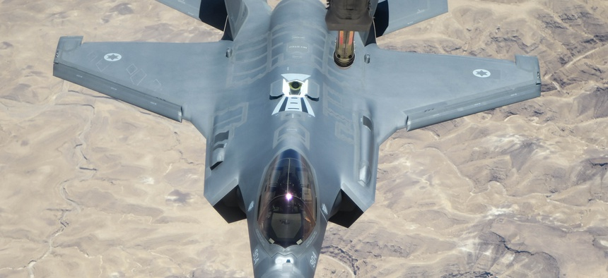 An Israeli Air Force F-35I approaches a U.S. Air Force tanker to refuel over southern Israel on Aug. 2, 2020.