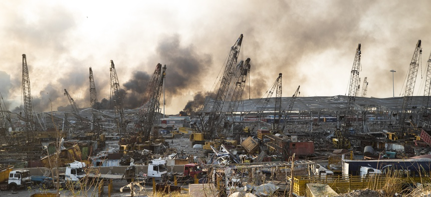 Aftermath of a massive explosion is seen in in Beirut, Lebanon, Tuesday, Aug. 4, 2020.