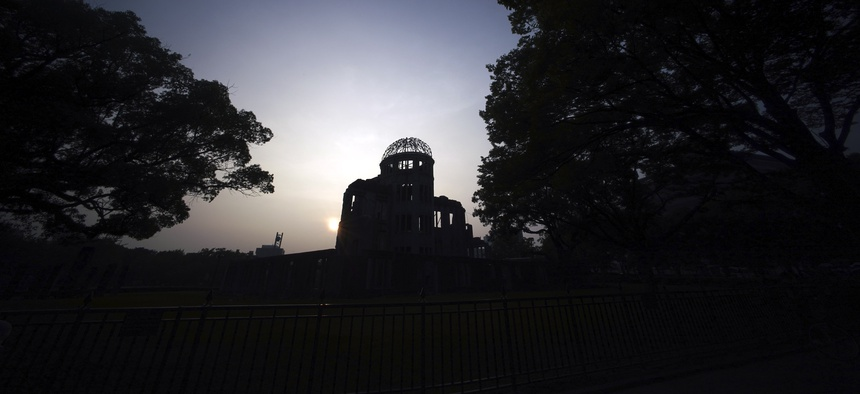 The Atomic Bomb Dome is seen in dusk in Hiroshima, western Japan, Tuesday, Aug. 4, 2020.