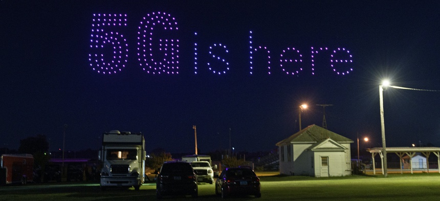 T-Mobile used 300 drones to light up the sky over Lisbon, North Dakota, on Aug. 2, 2020.