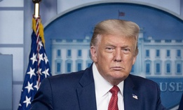 President Donald Trump holds a news conference at the White House on Aug. 10.